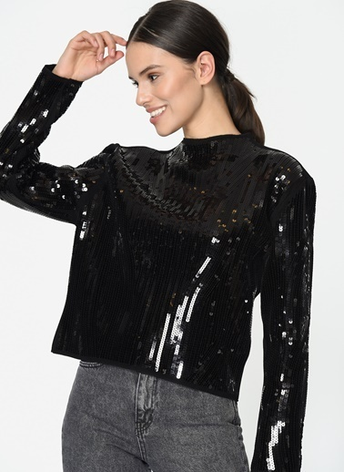 Loves You Önü Payet İşlemeli Dik Yaka Bluz Siyah